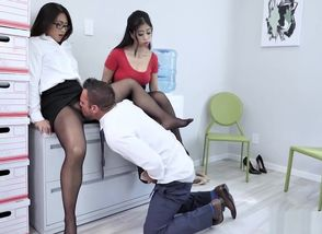 Hot office Threesome with Nyomi..